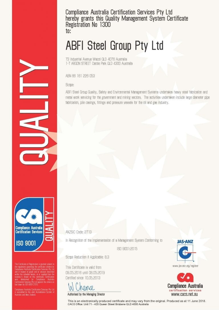 Quality Management Systems – AS/NZS ISO 9001 : 2015